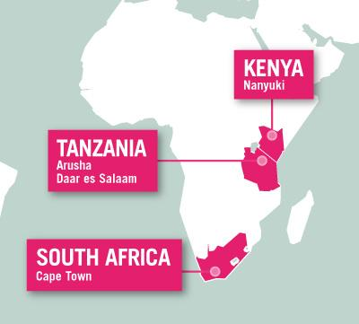 Projects Abroad is based in Endulen, Tanzania, Nanyuki, Kenya, and Cape Town, South Africa