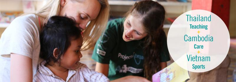 Projects Abroad Vietnam volunteer assists a local child with a toothbrush at a Care placement in Hanoi