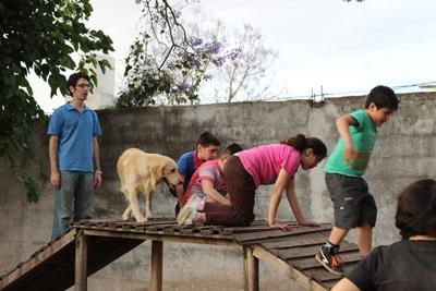 A Projects Abroad volunteer supervises a canine therapy project at a rehabilitation centre for children in Cordoba, Argentina