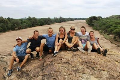 A group of Projects Abroad conservation volunteers at Wild at Tuli Nature Reserve in Botswana.