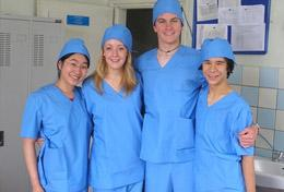Medicine High School Project interns wear their scrubs, ready to observe surgery at a hospital in Mongolia.