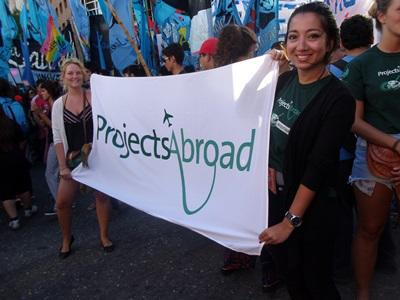 Projects Abroad volunteers in Argentina take part in a Memorial Day march