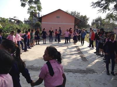 Children take part in activity with Projects Abroad Medical outreach programme at their school in Nepal