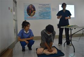 Medicine interns in the Philippines learn first aid from local doctors.