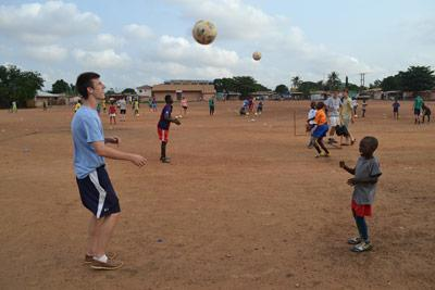 Projects Abroad Sports volunteers train with local children at a local soccer club in Ghana